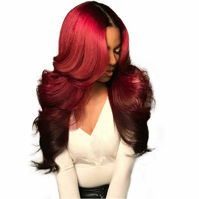 Burgundy Lace Front Wig 1b/99j Colored Ombre Human Hair Wigs Blue Blonde Brazilian Body Wave 360 Lace Frontal Wig 150% Remy