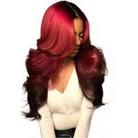 Бордовый Синтетические волосы на кружеве парик 1b/99j Цветной Ombre человеческих волос парики для Для женщин Красный Бразильский объемная волна