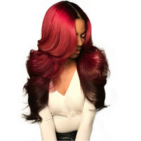 Burgundy Lace Front Wig 1b/99j Colored Ombre Human Hair Wigs For Women Red Brazilian Body Wave 360 Lace Frontal Wig 150% Remy
