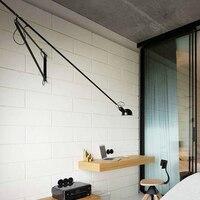 led wall lamp light Long swing arm black white lights for home adjustable modern industrial sconce vintage E27 bedroom foyer