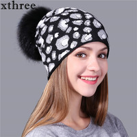 Xthree Leopard Print Knitted Winter Hat For Women Beanie Skullies Real Fur Pom Pom Wool Hat