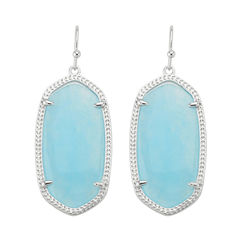 Trendy KS Elle Semi-precious Stone Silver Dangle Earrings in Blue Quartz Newest Modern Jewelry for Women Wholesale Gift hp 658071 b21