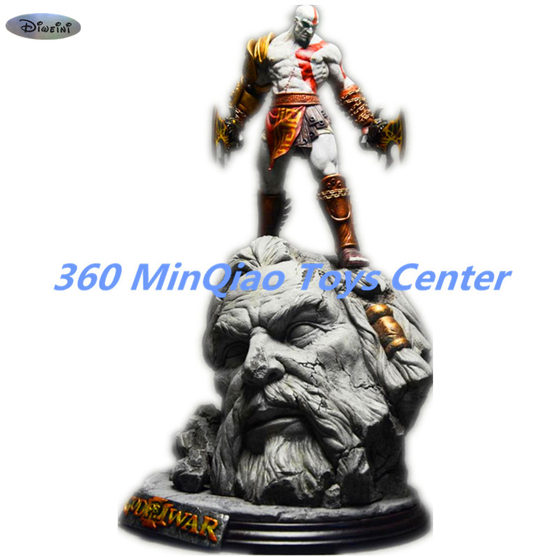 New God Of War 3 Kratos on Zeus Head Resin FIGURE Statue Fans Collection 26cm  RETAIL BOX WU784 [resin made] 1 4 scale god of war 3 kratos resin figure statue fans action figure collectible model toy 35cm retail box wu785