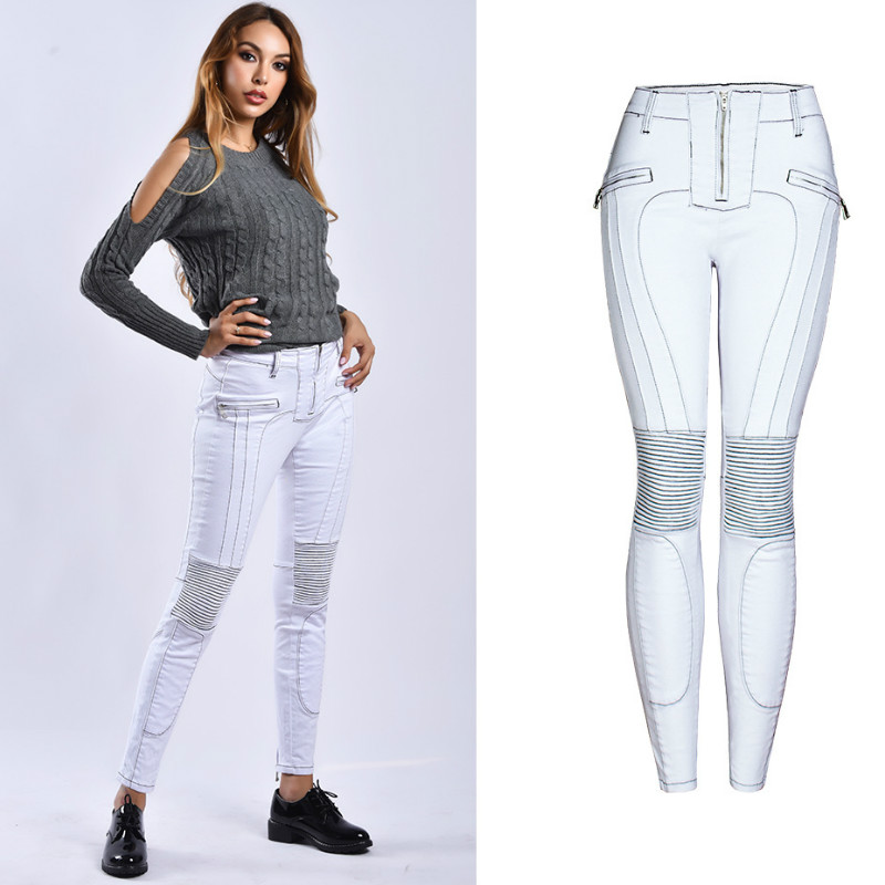 Zipper Fly Slim Skinny   Jeans   Women England Moto Biker Denim Pants Femme Push Up Line Spliced Fashionnova Spodnie Damskie Jeansy