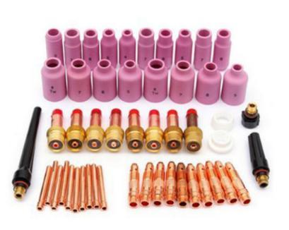 51pcsConsumables kit for TIG Welding Torch tungsten electrodesWP 17 18 26 Alumina Nozzles Back Cap Insulator Collet And Gas Lens цена и фото