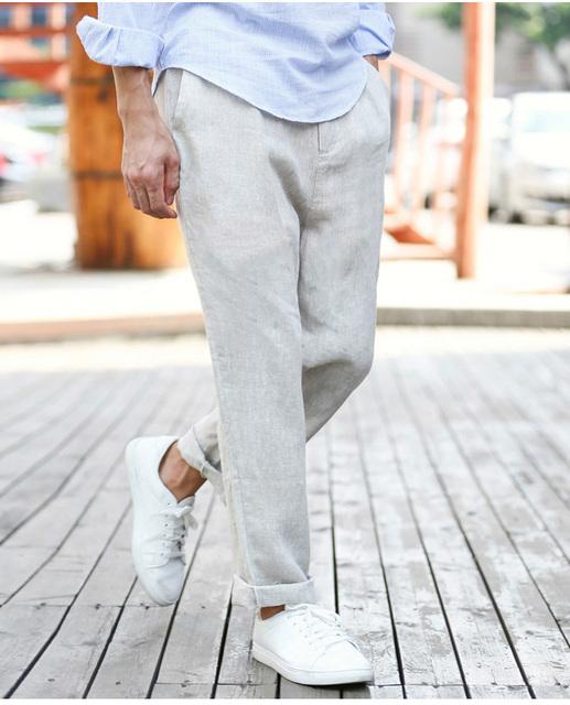 Corredores dos homens calças Calças de Linho Soltas Calças de verão Descontraído Hombre Altamente Respirável Casuais Calças de Suor 2016