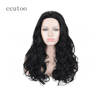 Ccutoo 26 Black Curly Long Synthetic Slicked Back Natural Hair Heat Resistance Fiber Party Cosplay Full
