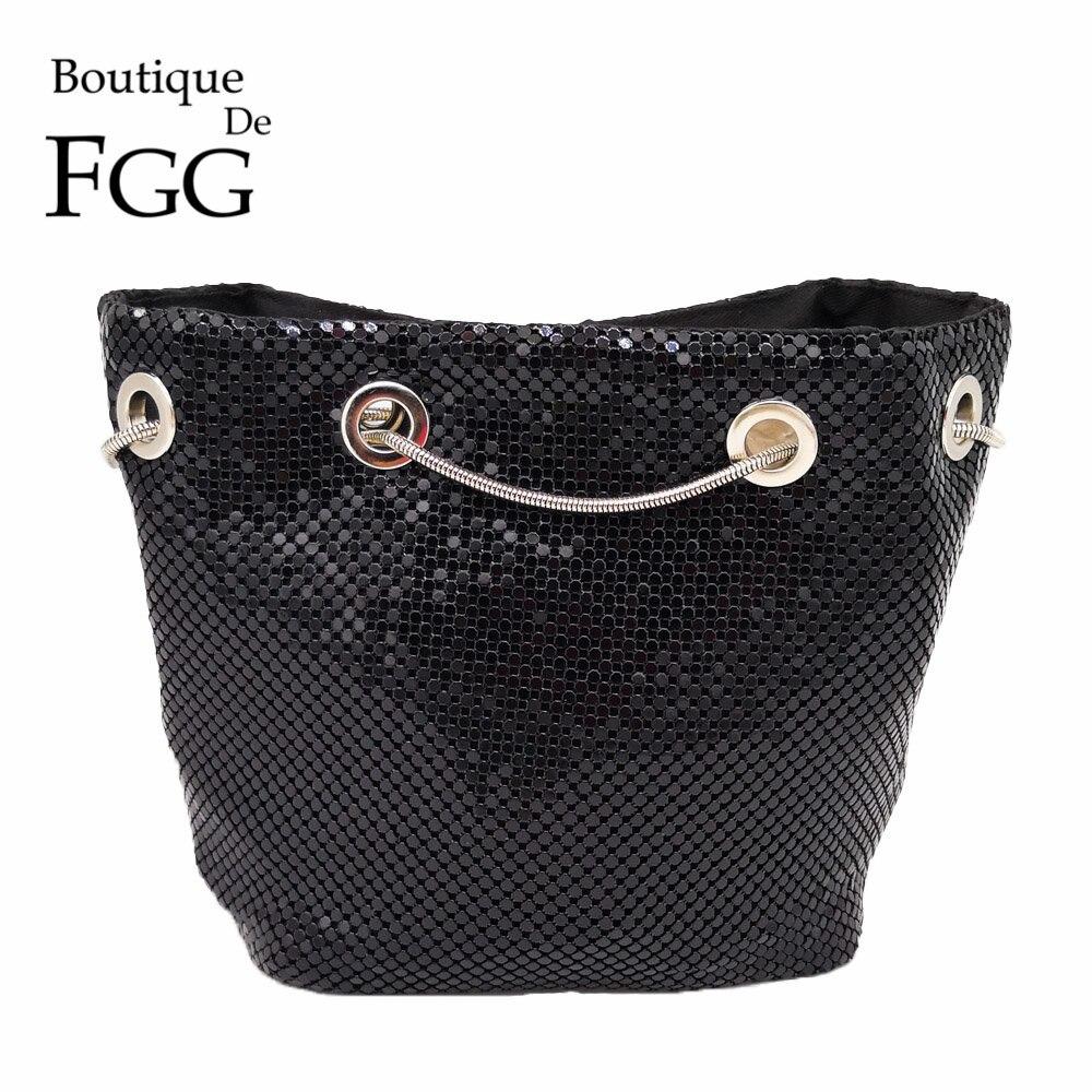 Boutique De FGG Women Handbags Aluminum Mini Evening Clutch Bags Ladies Casual Metal Clutches Coin Purse Party Dinner Chain Bag
