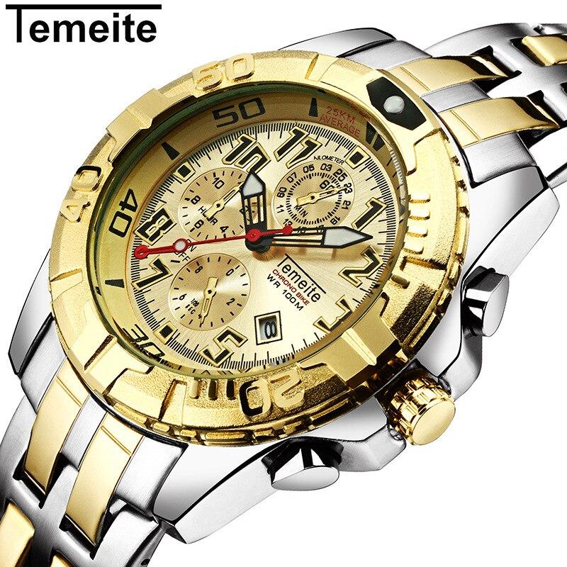 Temeite mens relojes Top marca de lujo deportivo reloj de cuarzo 3ATM hombres impermeables de acero inoxidable Relogio Masculino
