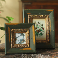 American country vintage old wood photo frame Home Furnishing Decor furnishings butterfly and bird study