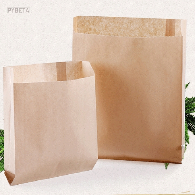 100pcs Kraft Paper Grease Proof Gusset Pouch Disposable Food Packaging Bag For Fried En Chips