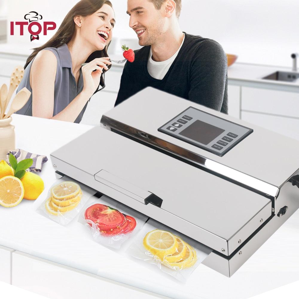 ITOP Semi-comercial Aferidor do Vácuo de Alimentos máquina de embalagem Com Sacos de Vácuo de Armazenamento de Alimentos Armazenamento de Alimentos Em Casa 110 V/ 220V