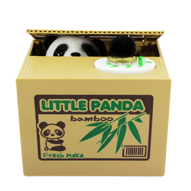 Cute Funny Toy Lovely For Creative Stealing Coins Panda Cent Penny Buck Piggy Bank Saving Money Box Pot Case For Gift Kids F
