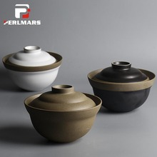 6.5 Inches Japanese Style Vintage Coarse Pottery Tableware Handmade Ceramic Bowl with Lid Ramen Soup Rice Bowl Salad Mixing Bowl