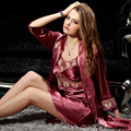XIFENNI Marca Mulheres De Cetim De Seda Robe Define Dois-Peça Sleepwear Lace Bordados Roupões de Banho de Alta Qualidade Noble Pijama Feminino 5579