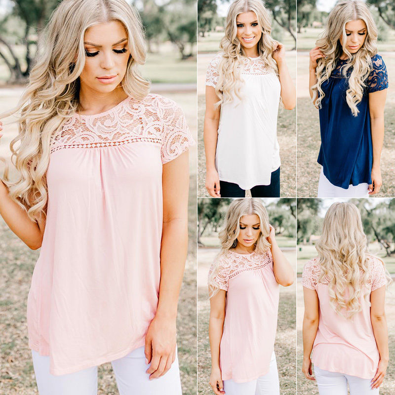 Fashion Women Summer Vest Tops Shirt Blouse Casual Tank Tops Blouse Solid Summer Short Sleeve Lace