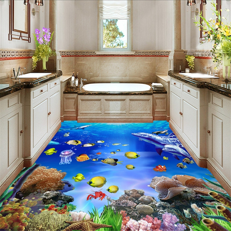 beibehang Custom Photo Floor Wallpaper Underwater World Tropical Fish Living Room Bedroom 3D Mural PVC Self-adhesive Wall paper beibehang custom papel de parede 3d floor wallpaper self adhesive living room bedroom bathroom floor mural photo wall paper roll