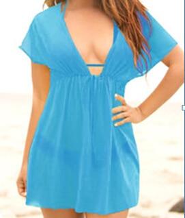 Sexy Women Swimsuit Ladies Bikini Cover Up Beach Dress See Through Bikini V-neck Swimwear Summer Bathing Suit 2019 One Piece