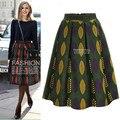 Kesebi 2017 Nueva Primavera Verano Caliente de La Manera de talle Alto Femeninos Simples Pantalones Falda de Las Mujeres Ocasionales Europeos Impresión Faldas Plisadas
