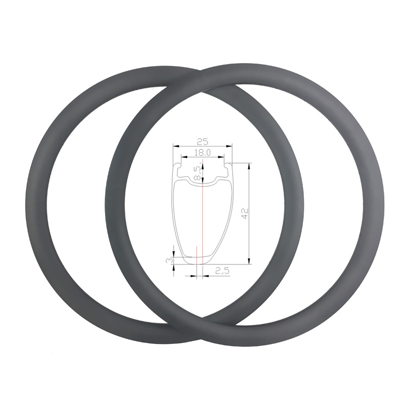 Ultralight 380g 700C 42mm asymmetry road bicycle disc brake carbon rims outter width 25mm cyclocross road
