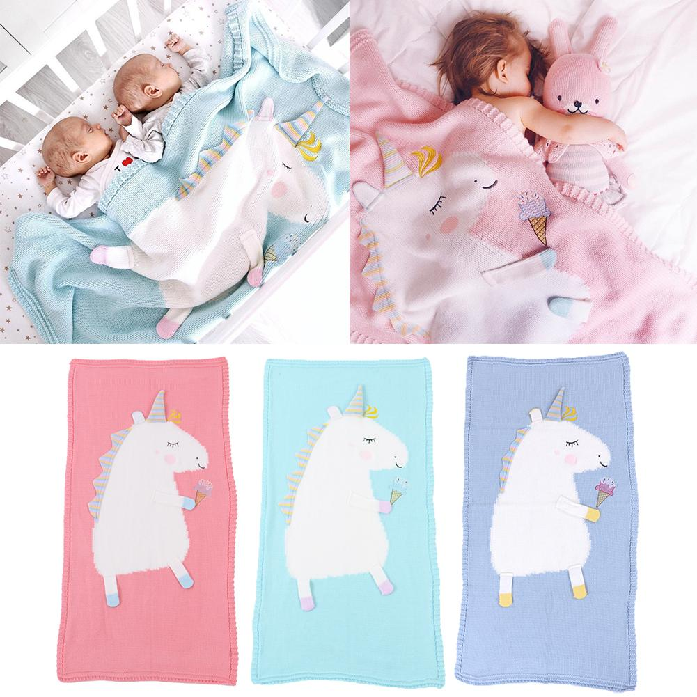 Children's Unicorn Knitting Blanket Soft Comfortable Air Conditioning Blankets Baby Cute Knitted Blanket For Boys And Girls comfortable multicolor knitted mermaid tail design blanket