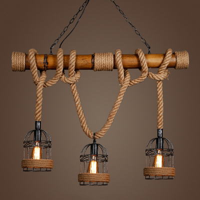 American country retro bamboo three head rope pendant for Suspension luminaire cage