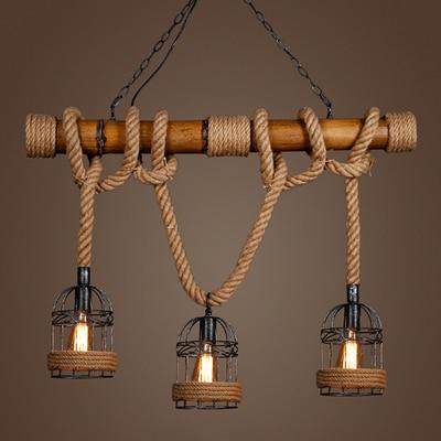 Vintage pendant light bamboo three head rope pendant lamp for Luminaire 3 suspensions