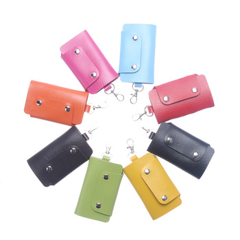 ISKYBOB Hot Sale PU Leather Housekeeper Holders Car Keychain Key Holder Bag Case Key Wallet Cover 8 colors Free Shipping Key Wallets