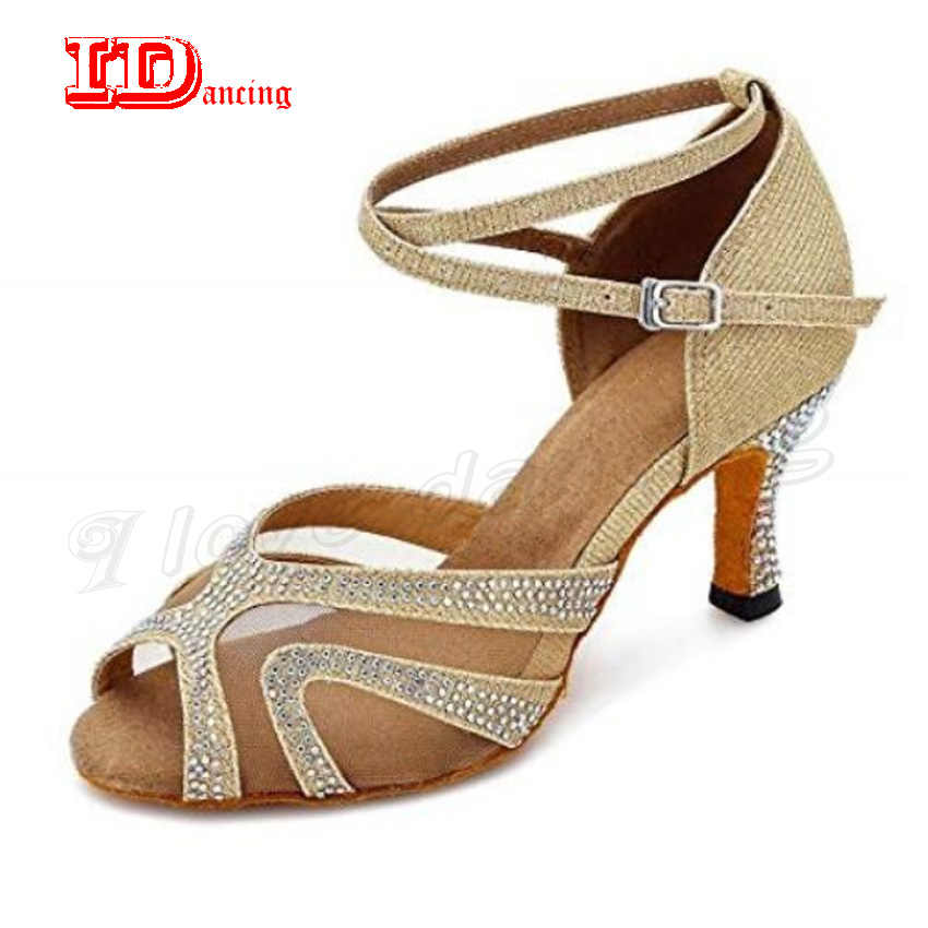 IDancing Women Dance Shoes Latino Dancing Shoes For Girls Rhinestone Ballroom  Latin Shoes Ladies Salsa Tango 8edd6e009fe7