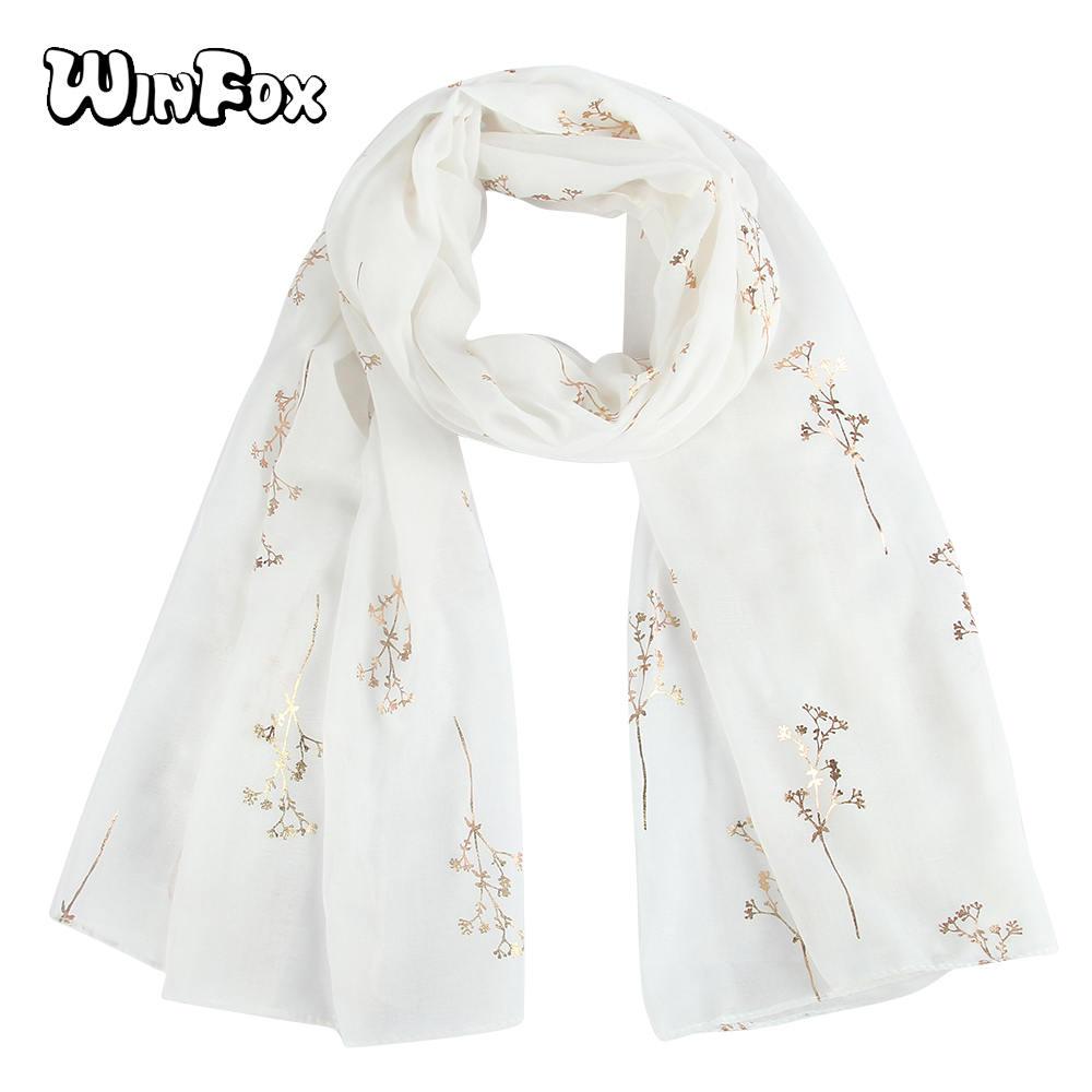 Winfox New Fashion Womens White Color Shiny Metallic Gold Foil Floral Glitter   Scarves     Wrap   Shawl For Ladies Womens