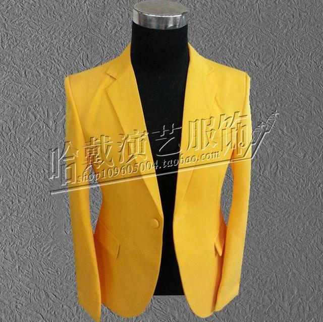 O envio gratuito de homens boate cantor terno amarelo roupas performance de palco/S-3XL