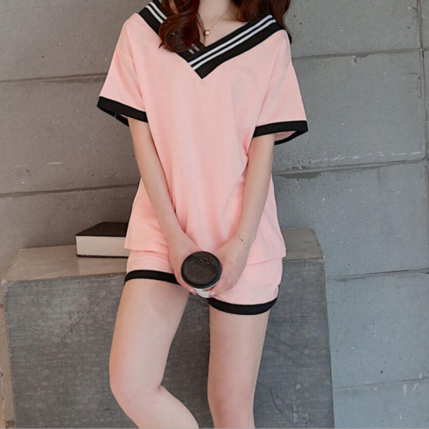 Summer short-sleeved ladies   pajamas     set   Korean girls knitted cotton casual loose cute   pajamas   two-piece