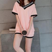 Summer short-sleeved ladies pajamas set Korean girls knitted