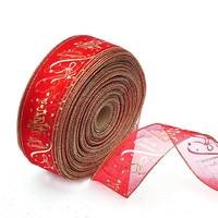100 yards Width 6.3cm Organza Christmas Decoration Ribbon Star Printing Red Christmas Tree Decoration Ribbon
