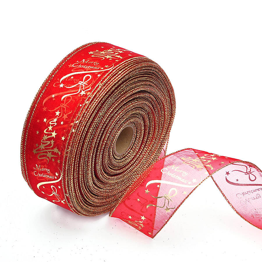100 yards largeur 6.3 cm Organza décoration de noël ruban étoile impression rouge arbre de noël décoration ruban