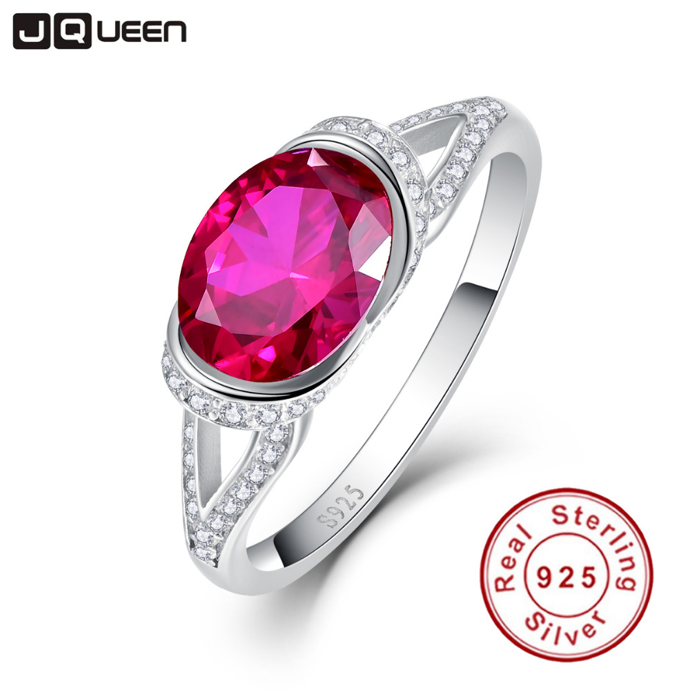 2ct 925 Sterling Silver Rings Platinum Plated AAA Crystal Big Oval Ruby Ring for Women Wedding