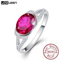 2ct 925 стерлингов Серебряные кольца платиновым покрытием AAA Кристалл Большой овальный рубиновое кольцо для Для женщин Свадебные украшения