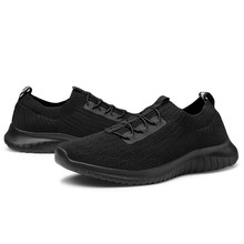TIOSEBON Men Women Flyknit Walking Shoes Lightweight Breathable Sport Sneakers Slip On Flats Casual Lovers for Jogging