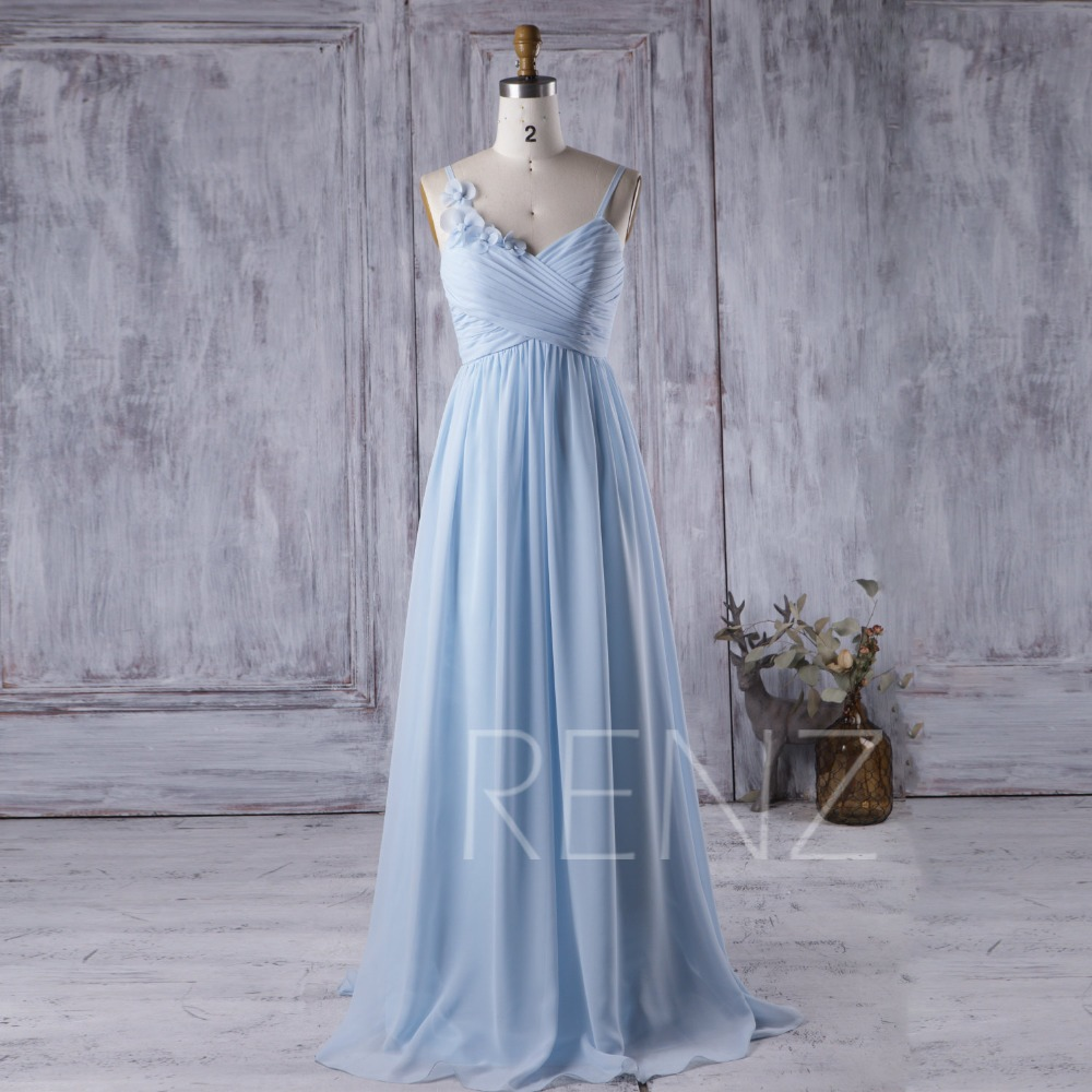 Light Blue Real Sample Chiffon Sweetheart A Line Floor