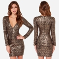Autumn Deep V Neck Gold Sequined Bodycon Dress Club Wear Sexy Long Sleeve Paillette Party Dress Women Slim Pencil Mini Dress