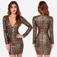 Autumn Deep V Neck Gold Sequined Bodycon Dress Club Wear Sexy Long Sleeve Paillette Party Dress