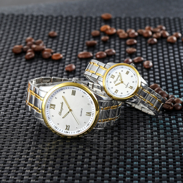 2018 new women men couples lovers stainless steel diamond business quartz watches ladies luxury gold sliver bracelet watches