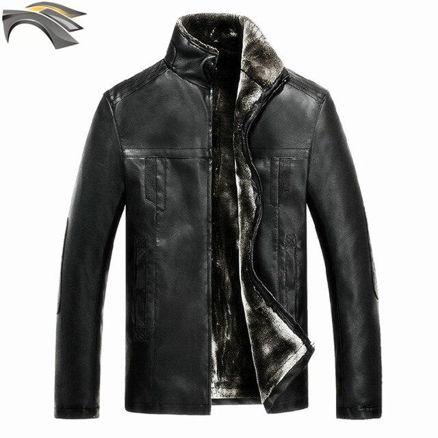 DUNKINBO мотоцикл пальто аналогичные harley кожаная куртка мужская PU кашемир зима теплая мужчины толстые куртки 3862