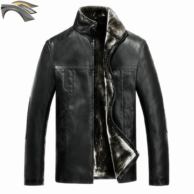 DUNKINBO motorcycle coat similar harley leather jacket  men's PU cashmere fleece winter warm male  thick jackets 3862