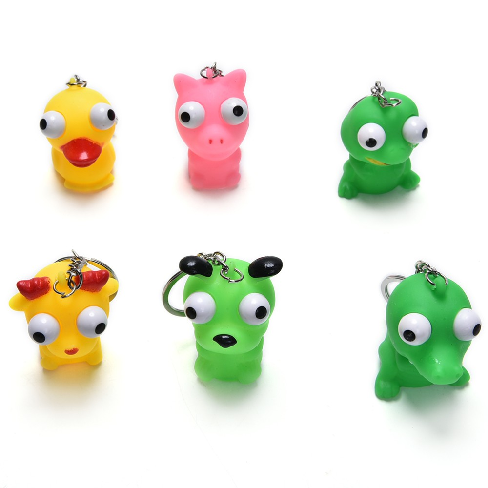 1pc Mini Animal Anti Stress Ball For Bag Accessories Fun Antistress Extruding Big Raised Eyes Doll Squeezing Pandent Pure And Mild Flavor Luggage & Bags