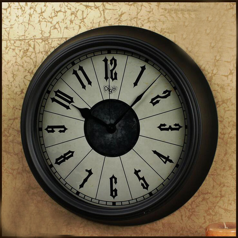 New home decor 14 inch 36cm large metal vintage quartz clocks living room wall clock 2016 in for Large wall clock in living room