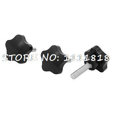 3 x Black M8 x 30 Thread 40mm Dia Bakelite Star Knob Handle for Machine Tool 8mm x 20mm thread screw on type clamping t shape handle knob