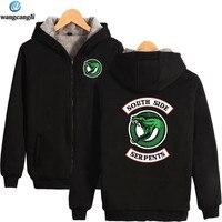 Riverdale South Side Serpents Winter Thicken Warm Hoodies Hot TV Show Cotton Fleece Hoodie Sweatshirt Plus Size Jacket Coat
