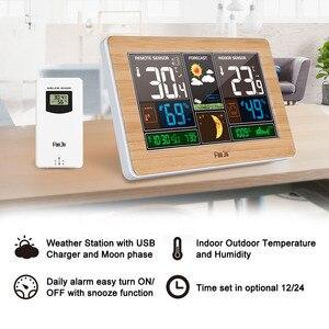 Image 2 - FanJu Weerstation Digitale Klok Muur Alarm Draadloze Sensor Thermometer hygrometer Barometer Weerbericht Tafel Desktop FJ3378