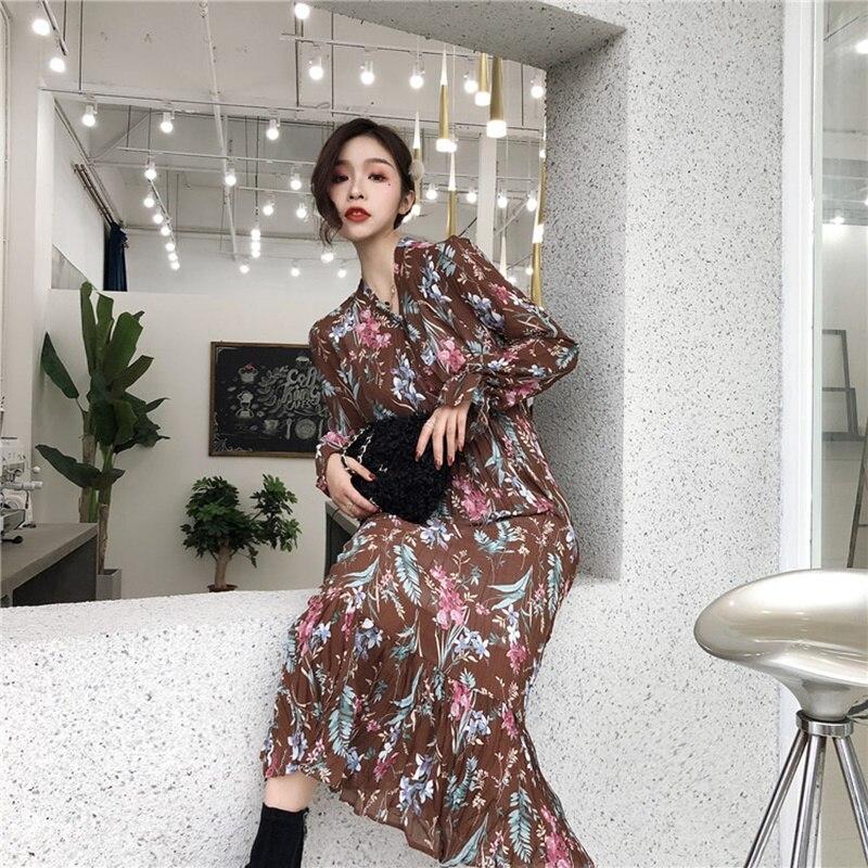Boho Chic femmes robe automne 2019 printemps Floral imprimé à manches longues robe Midi longue bohême robes décontractées pour les femmes 2019 DD2180